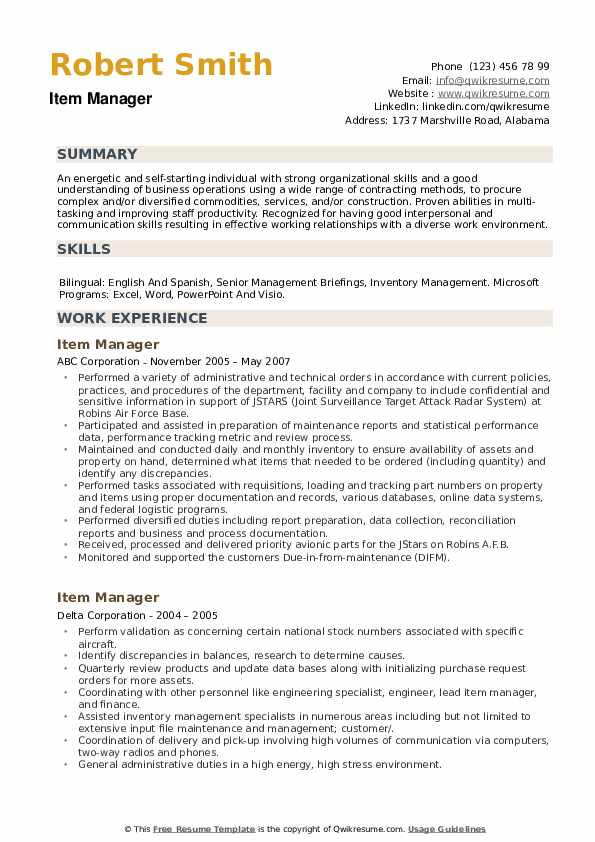 Item Manager Resume example