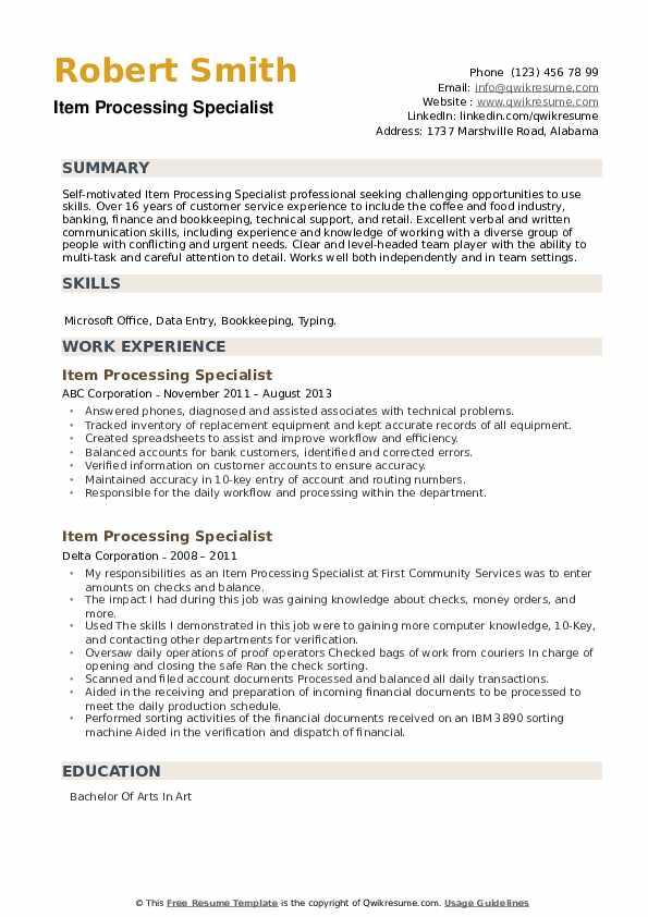 Item Processing Specialist Resume example