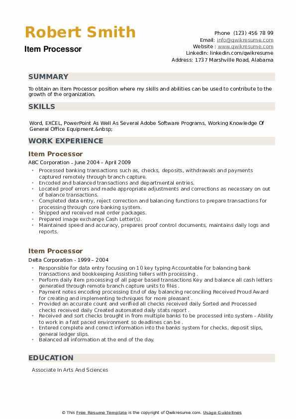 Item Processor Resume example