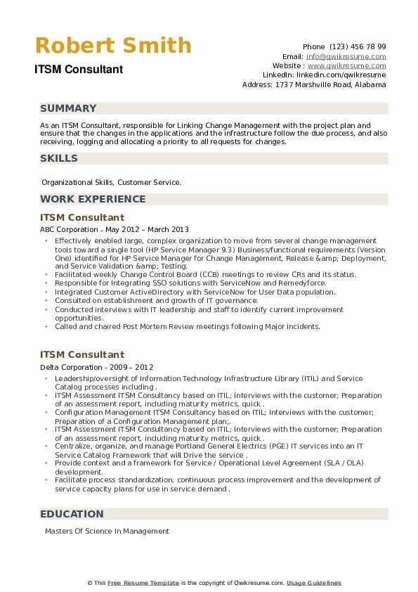 ITSM Consultant Resume example