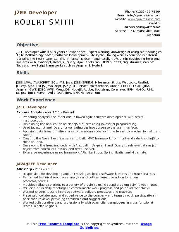 J2EE Developer Resume Model