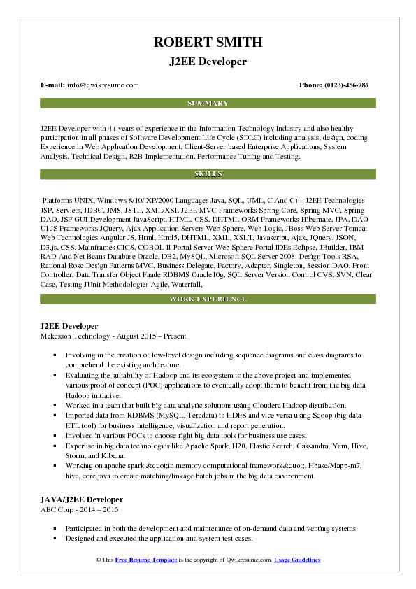 j2ee developer resume samples