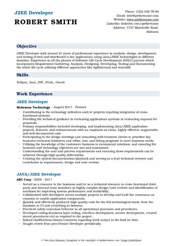 J2EE Developer Resume Sample