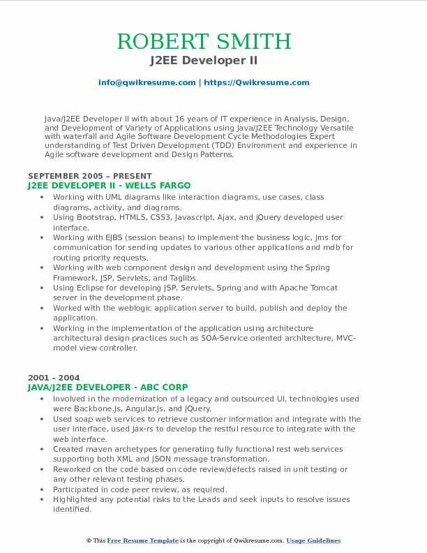 J2EE Developer II Resume Template