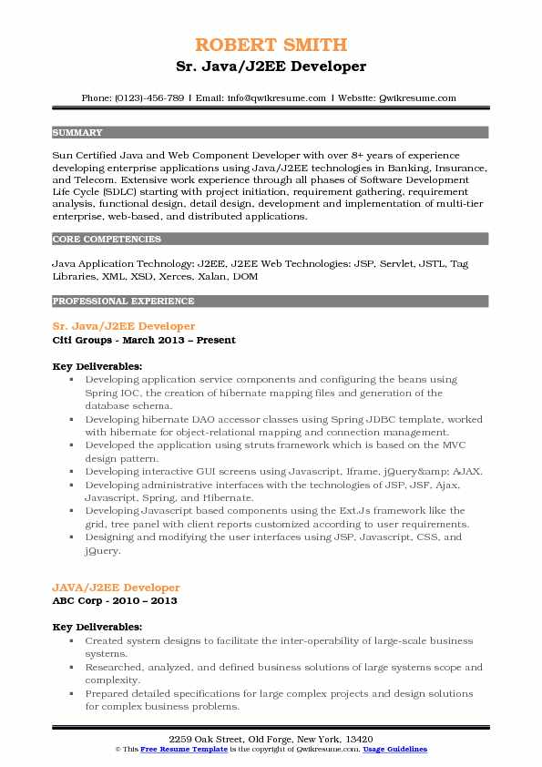 Sr. Java/J2EE Developer Resume Example