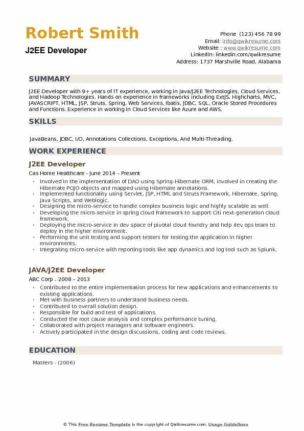 J2EE Developer Resume Template