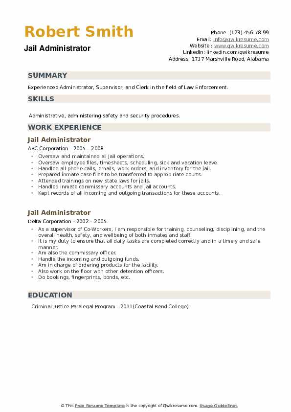 Jail Administrator Resume example