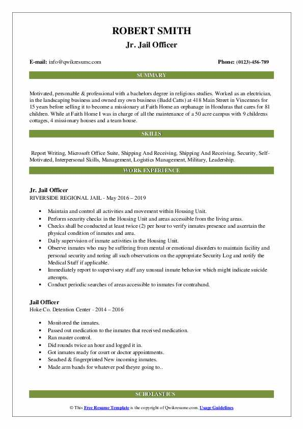 Jr. Jail Officer Resume Example