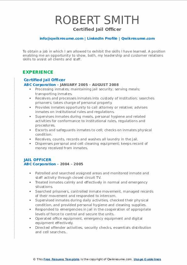 Certified Jail Officer Resume Example