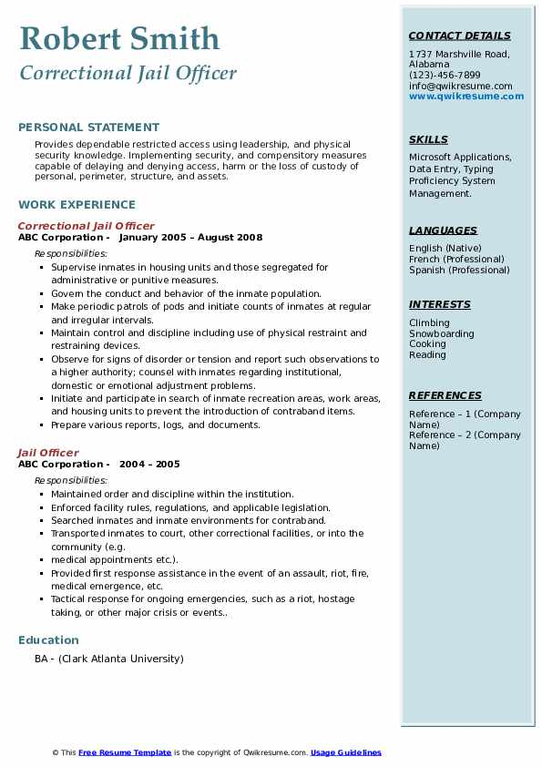 Correctional Jail Officer Resume Example