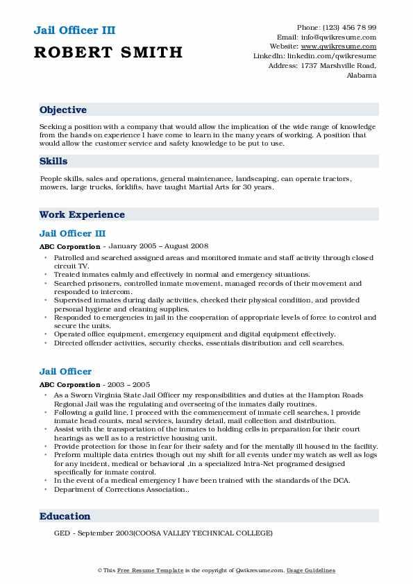 Jail Officer III Resume Format