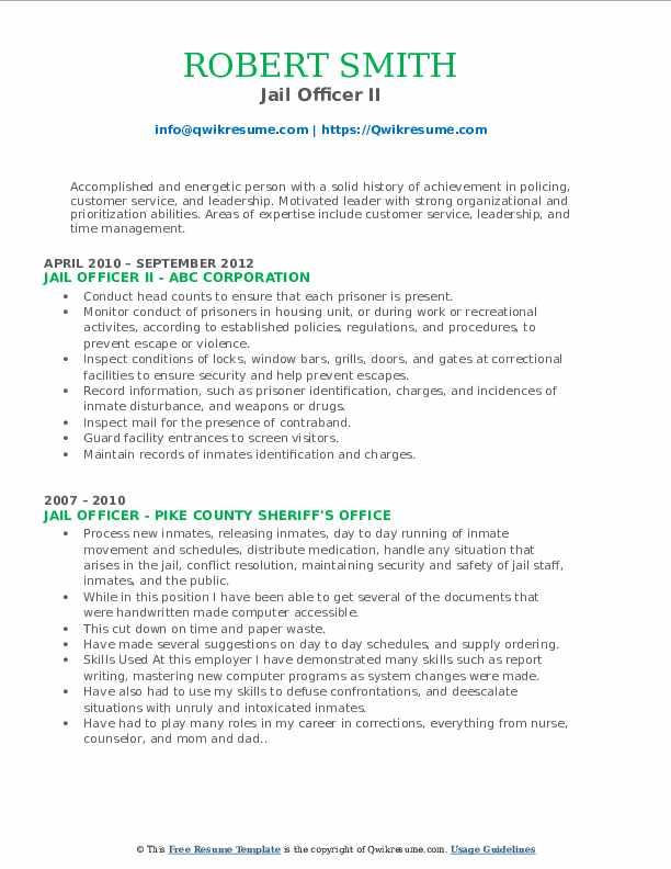 Jail Officer II Resume Model