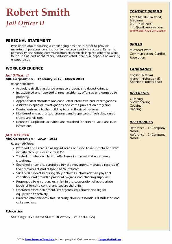 Jail Officer II Resume Format