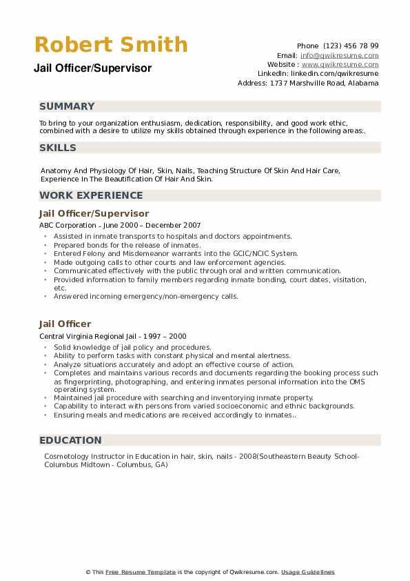 Jail Officer/Supervisor Resume Model