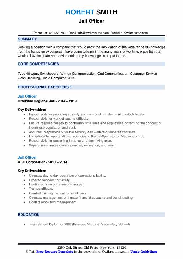 Jail Officer Resume example
