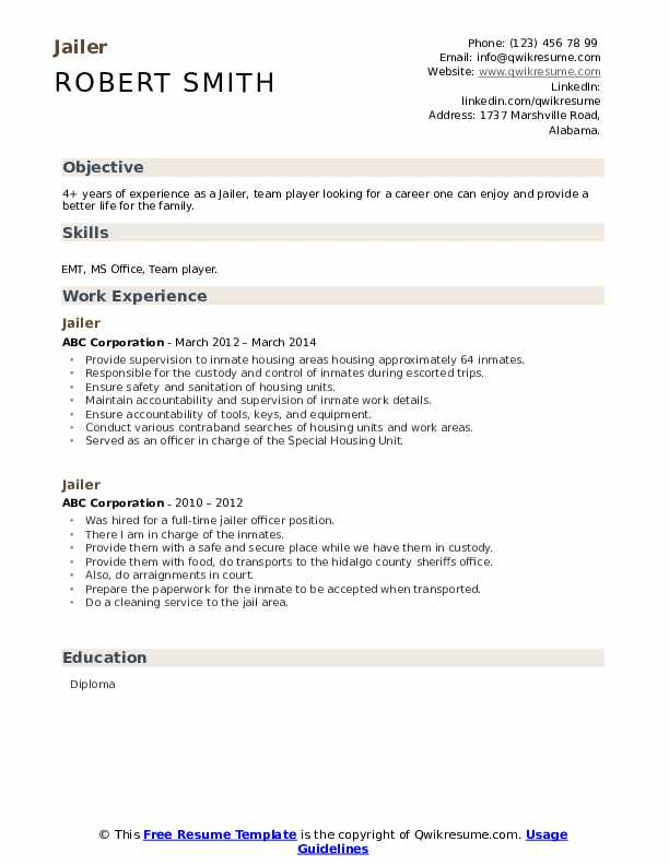 Jailer Resume example
