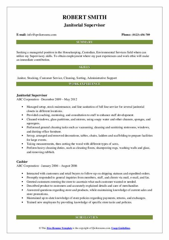 Janitorial Supervisor Resume Template