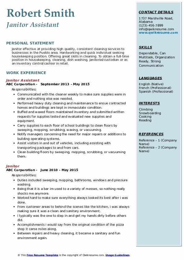Janitor Assistant Resume Format