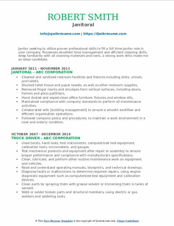 Janitoral Resume Example