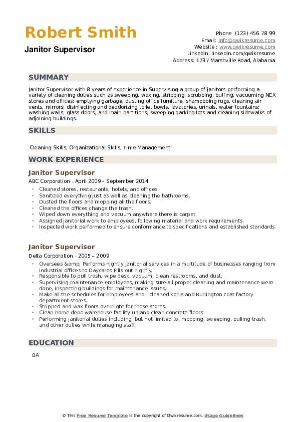 Janitor Supervisor Resume example