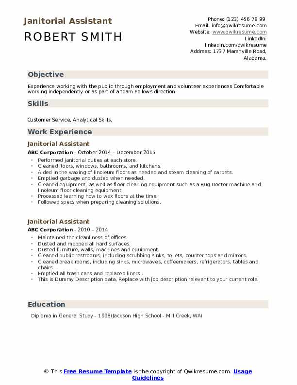 Janitorial Assistant Resume example