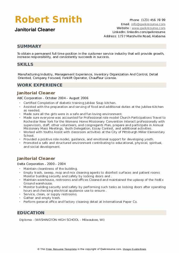 Janitorial Cleaner Resume example