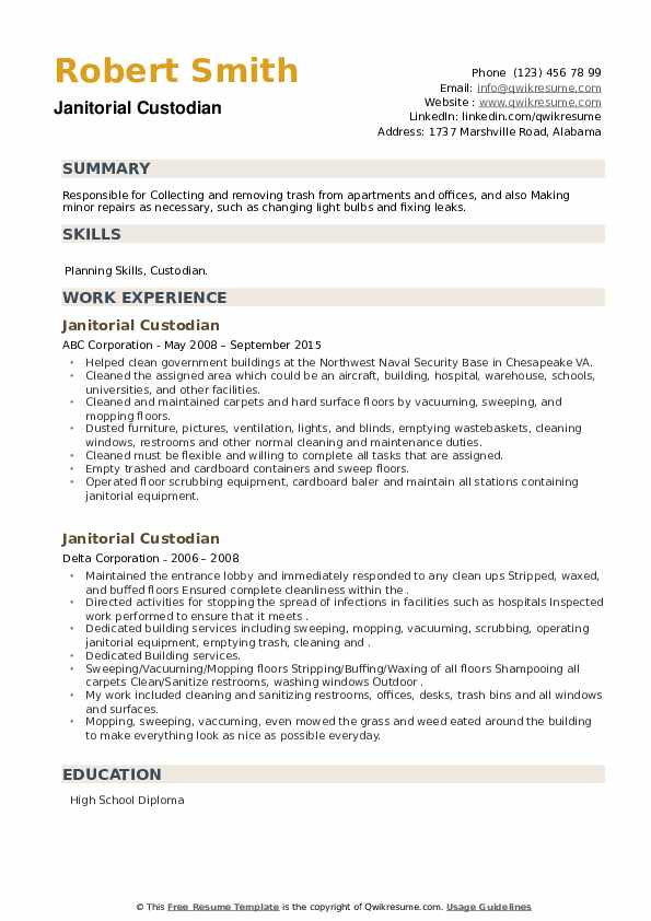 Janitorial Custodian Resume example