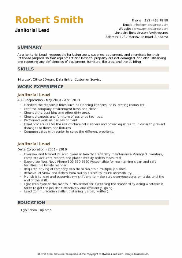 Janitorial Lead Resume example
