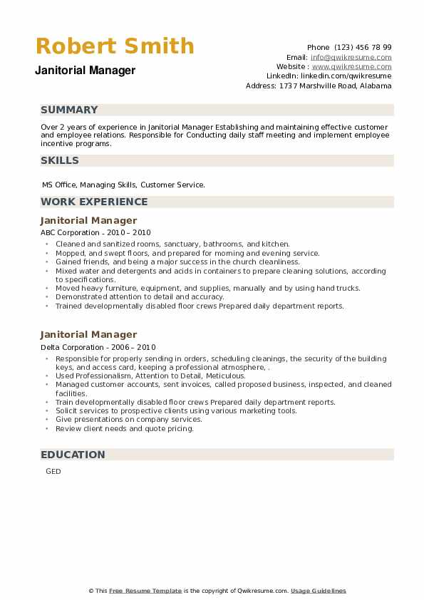 Janitorial Manager Resume example