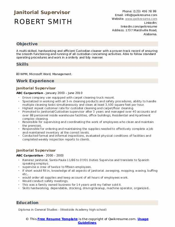 Janitorial Supervisor Resume Samples | QwikResume