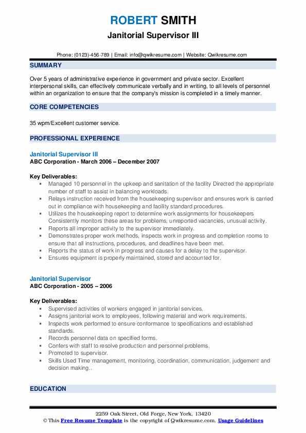 Janitorial Supervisor III Resume Format