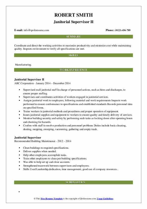 Janitorial Supervisor II Resume Model