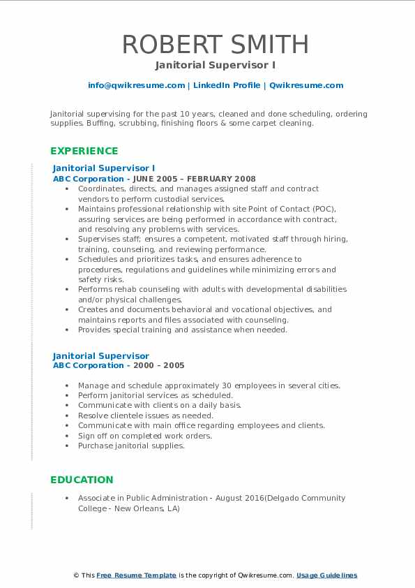 janitorial-supervisor-1571040675-pdf Janitorial Resume Format on