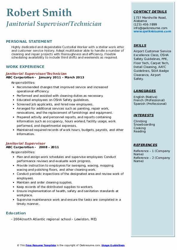 Janitorial Supervisor/Technician Resume Model