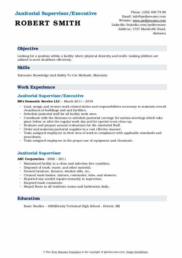 Janitorial Supervisor/Executive Resume Sample