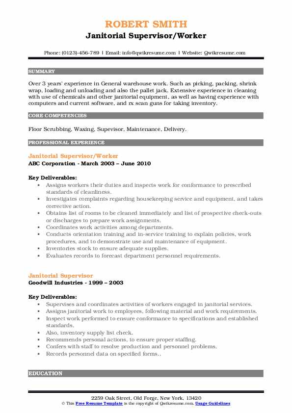 Janitorial Supervisor/Worker Resume Example