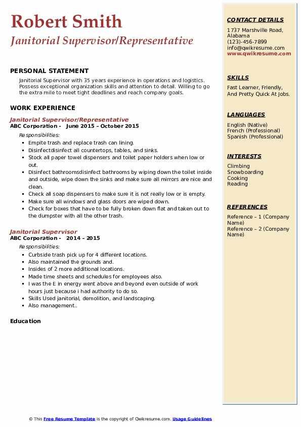 Janitorial Supervisor/Representative Resume Example