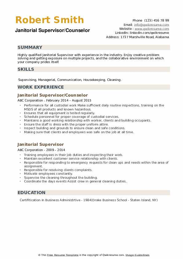 Janitorial Supervisor/Counselor Resume Sample