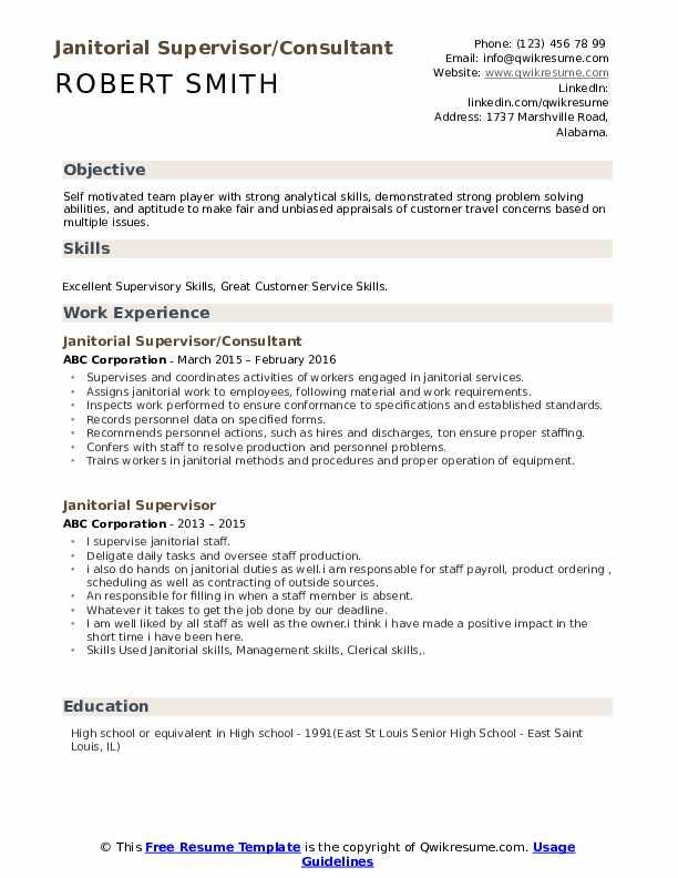 Janitorial Supervisor/Consultant Resume Model