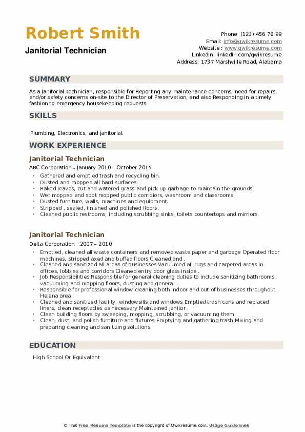 Janitorial Technician Resume example