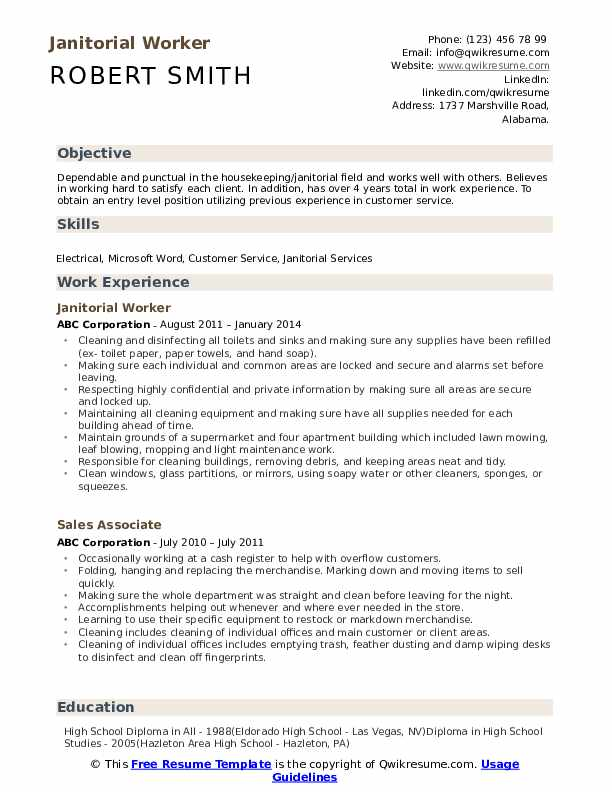 Janitorial Worker Resume Sample