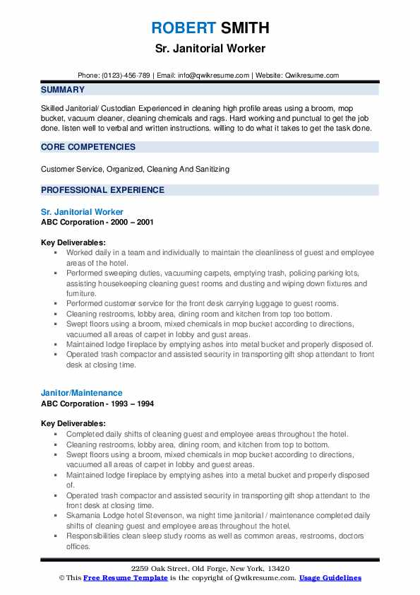 Sr. Janitorial Worker Resume Example