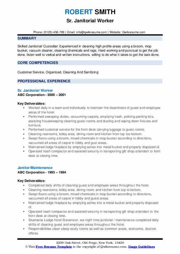 Sr. Janitorial Worker Resume Format