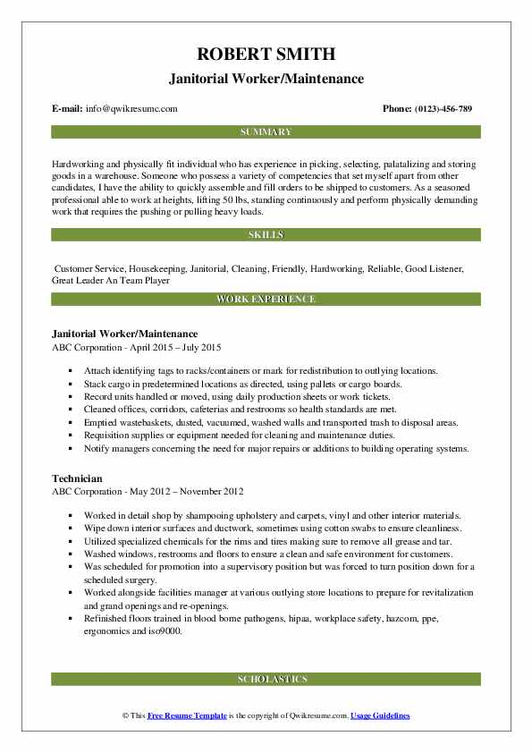 Janitorial Worker/Maintenance Resume Example