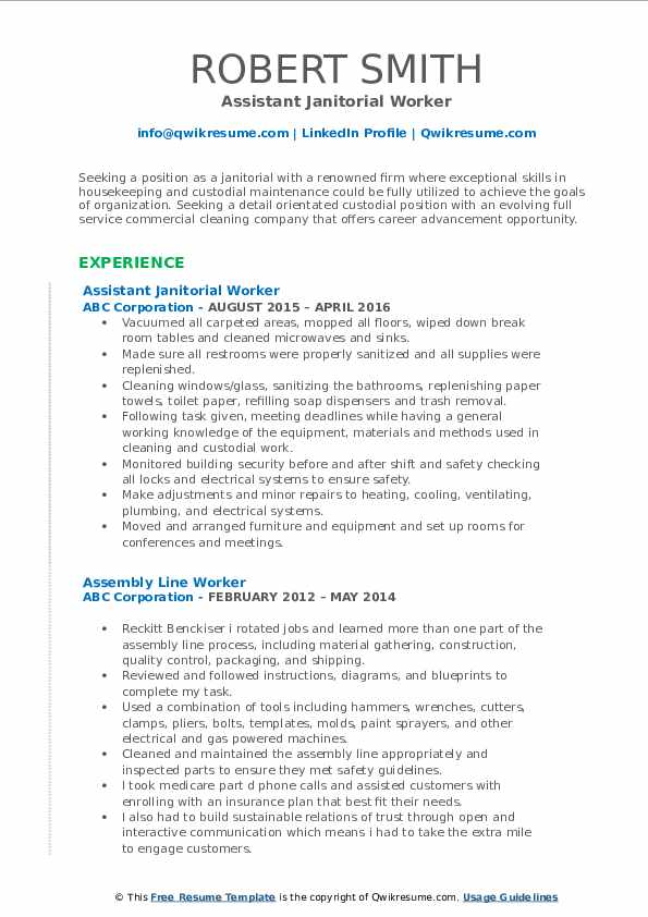 Assistant Janitorial Worker Resume Sample
