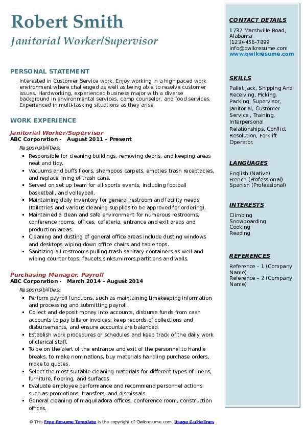 Janitorial Worker/Supervisor Resume Sample