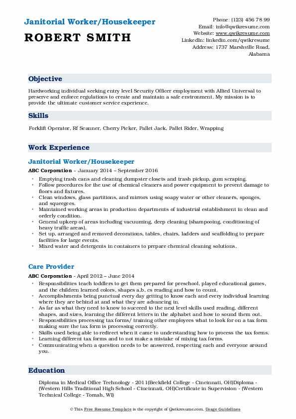 Janitorial Worker/Housekeeper Resume Sample