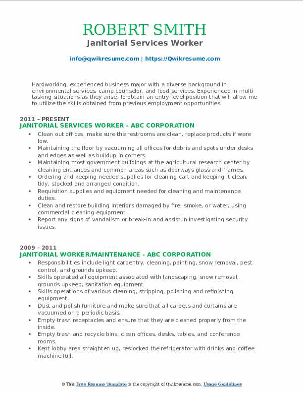 Janitorial Services Worker Resume Sample