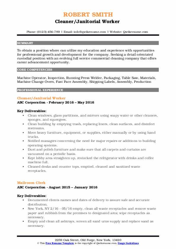 Cleaner/Janitorial Worker  Resume Example