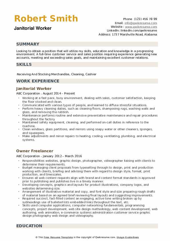 Janitorial Worker Resume Samples Qwikresume